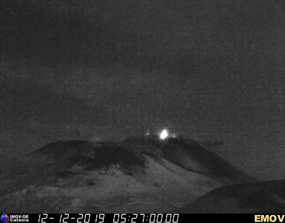 Strombolian explosion at Etna's New SE crater this morning (image: INGV Catania webcam)