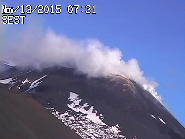 Etna's steaming New SE crater this mornning