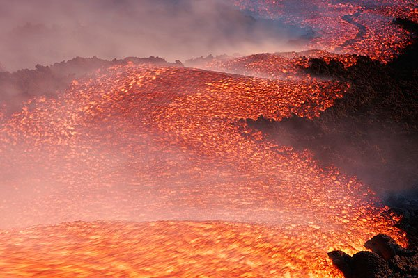 The lava flow from the 3050 m vent near its source. The channel is about 5 m wide.