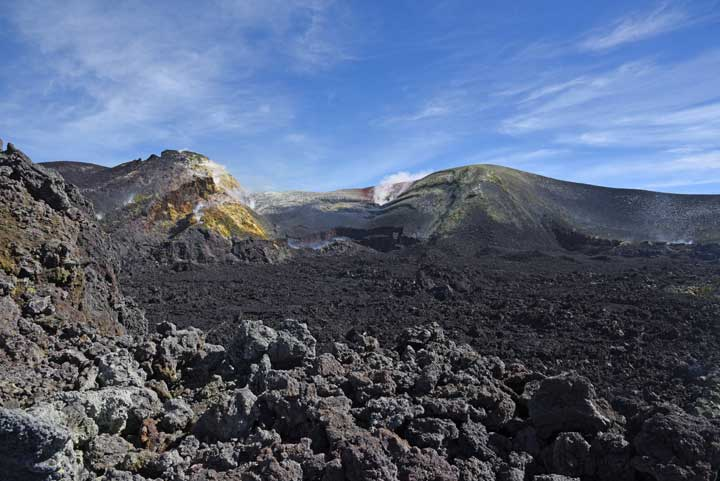 VIew of Etna's Bocca Nuova (foreground) and Voragine behind