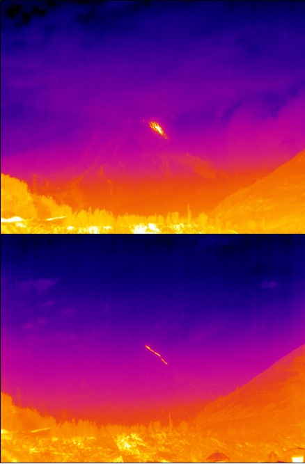 Thermal images taken of the lava flow and mobilized incandescent blocks tumbling down from a notch in the crater wall on the northwestern flank of the volcano Tungurahua. (S. Vallejo / IGEPN)
