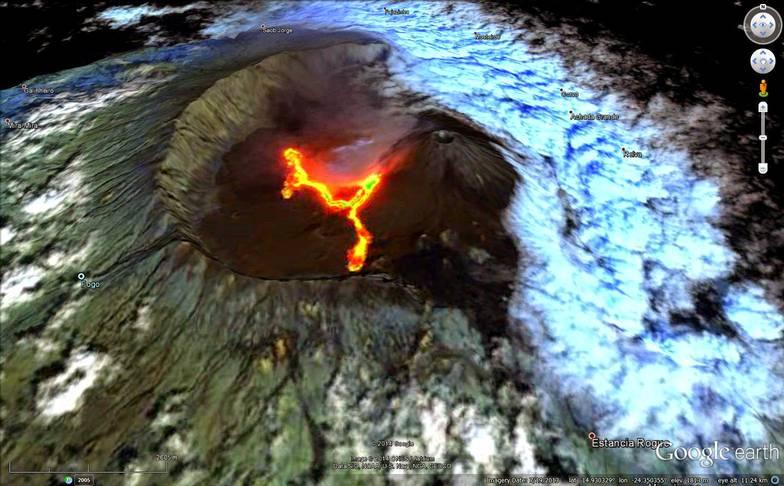 Lava flows at Fogo (credit: Landsat image on Google Earth / Peter Webley)