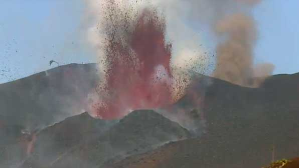 Screenshot of eruption video showing the two active vents at Fogo
