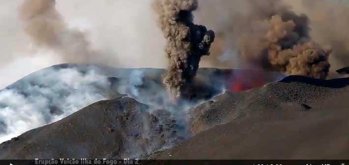 Explosive activity at the eruptive vents of Fogo on 25 Nov 2014 (MuzikaTV)