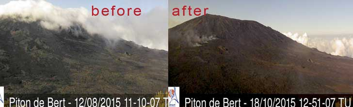 View of Piton del la Fournaise's eruption site from Piton Bert webcam before and after the eruption (note some cones have almost disappeared under the new lava)