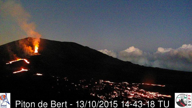 Piton de la Fournaise volcano on 13 Oct 2015