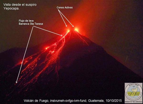 Lava flows on Fuego volcano on 10 Oct 15 (INSIVUMEH)