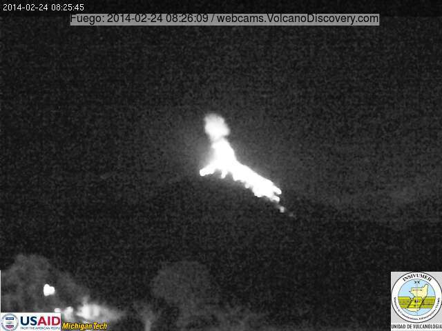 Explosion at Fuego volcano this morning