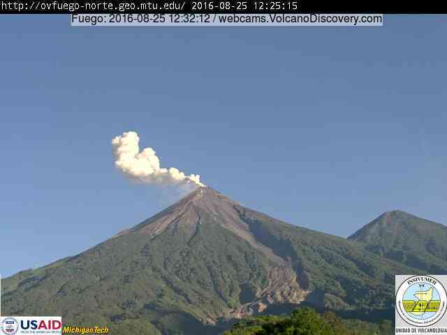 Ash plume from an explosion at Fuego this morning