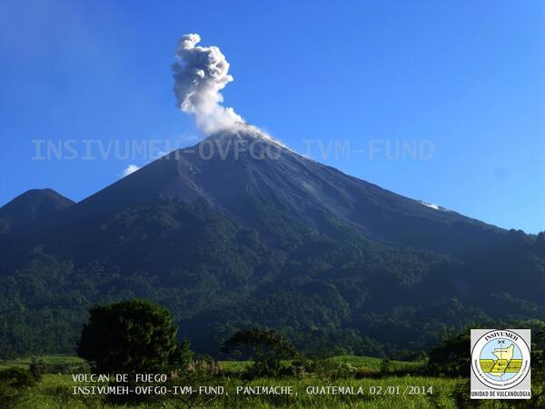 Mild explosion from Fuego volcano (INSIVUMEH)