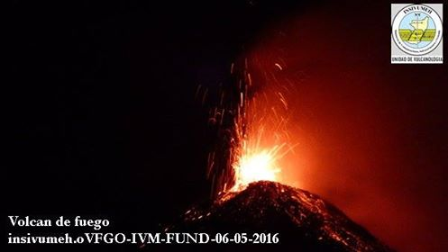Strombolian explosion at Fuego on 6 May 2016 (image: INSIVUMEH)