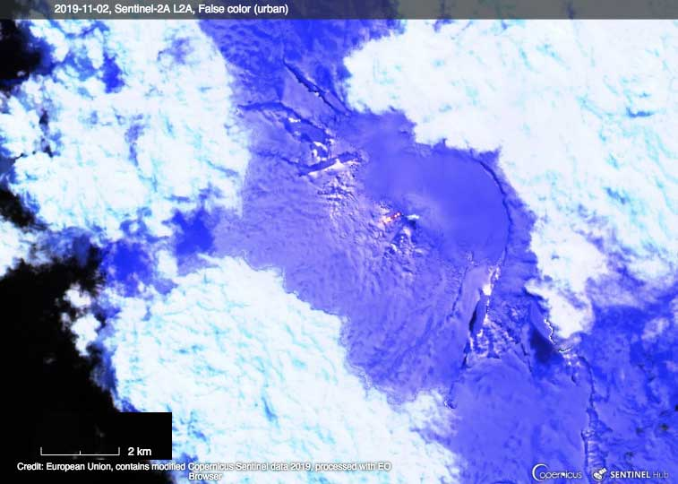 Satellite image of Heard Island on 2 Nov 2019 showing the new lava flow (image: Sentinel-Hub)