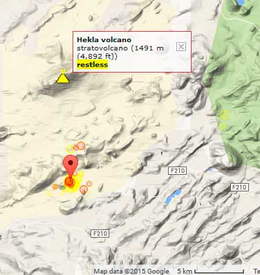 Epicenters of recent earthquakes south of Hekla