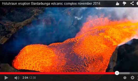 Snapshot from embedded video showing the boiling lava lake at the vent in Holuhraun