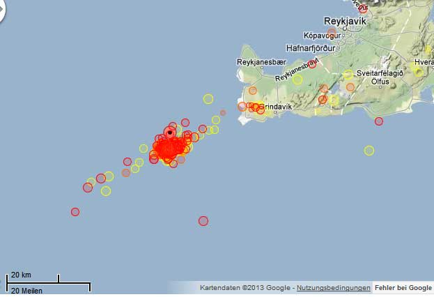 Map of earthquakes on the submarine Reykjanes Ridge during 9-10 May