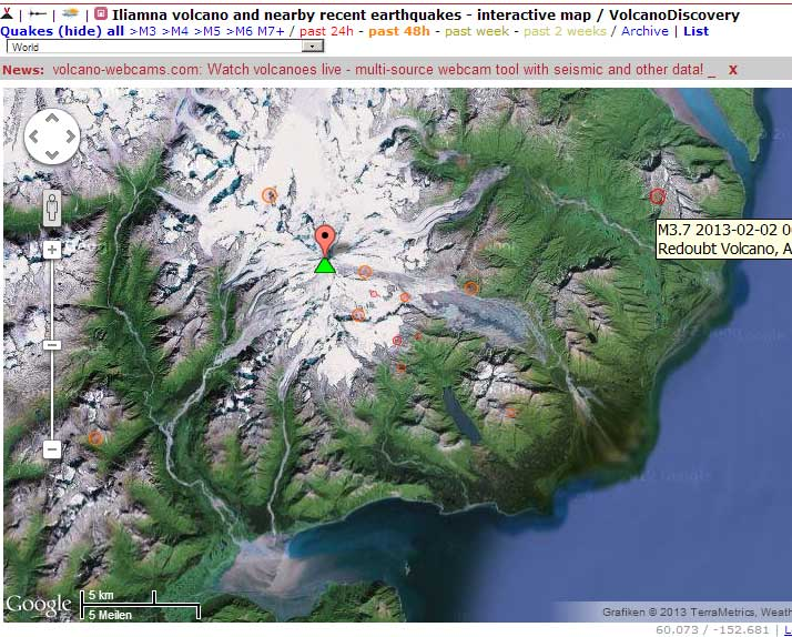 Map of recent quakes near Iliamna (past 48 hours)