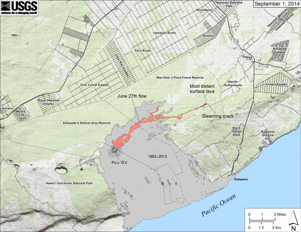 Map of the recent lava flows on Kilauea (HVO)