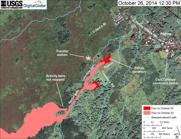 Updated lava flow map at Pahoa, Hawai'i (image: HVO)