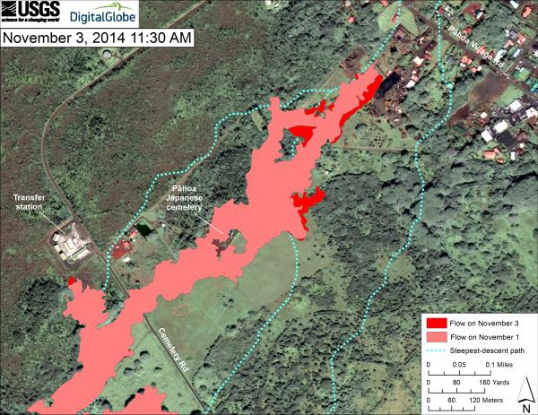 Updated map of the lava flow in Pahoa as of 3 Nov 2014 (no major changes until early 5 Nov))