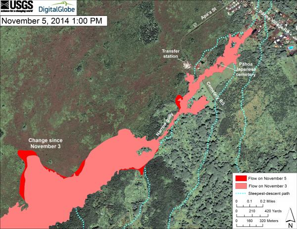 Updated map of the lava flow in Pahoa as of 5 Nov 2014 local time (HVO)