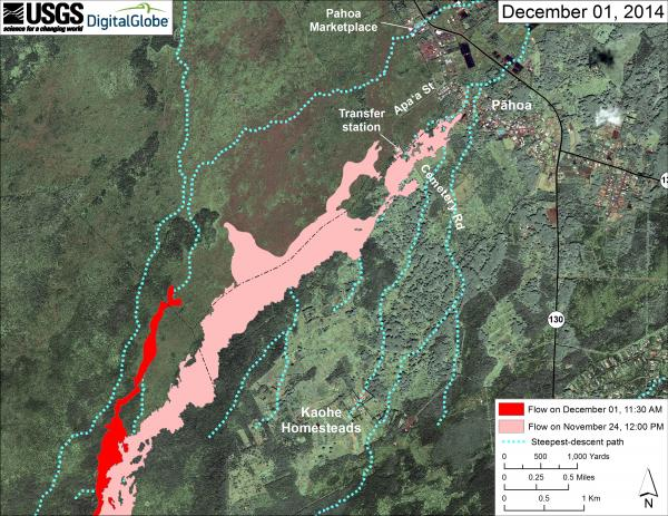 Map showing the location of the new lava flow finger headed north (HVO/USGS)