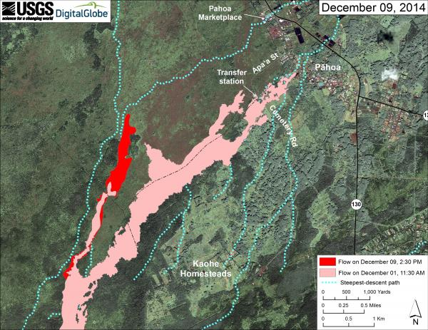 Map of thhe lava flow near Pahoa as of 9 Dec (HVO)