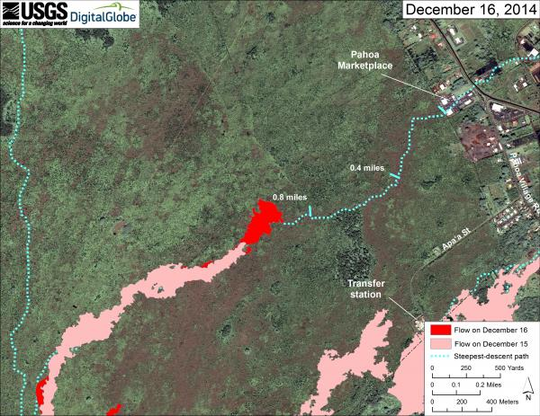 Map of the lava flow near Pahoa as of yesterday