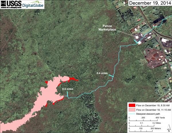 Map of the lava flow near Pahoa as of 19 Dec