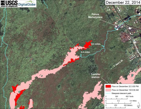 Map of the lava flow near Pahoa as of 24 Dec 2014 (HVO)