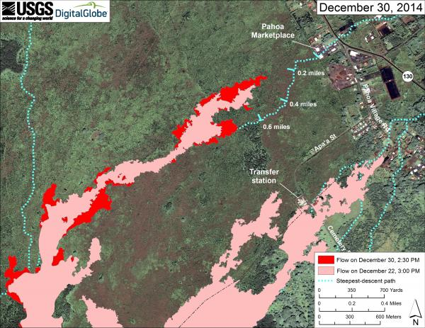 Map showing the location of the lava flow near Pahoa as of 30 Dec 2014 (HVO/USGS)