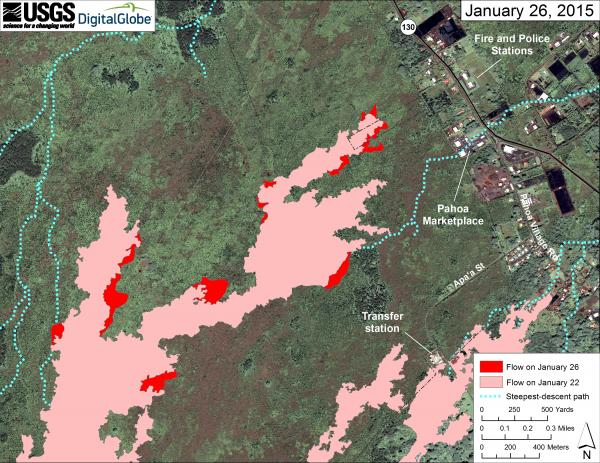 Map of the June 27th lava flow as of 26 Jan (USGS / HVO)