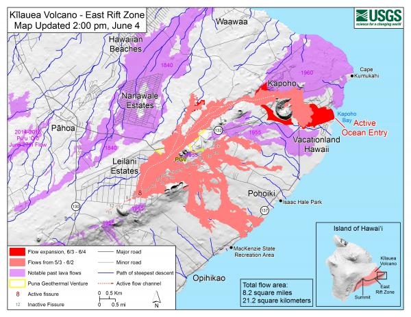 Latest lava flow map with the location of the ocean entry in Kaphoho (image: HVO / USGS)