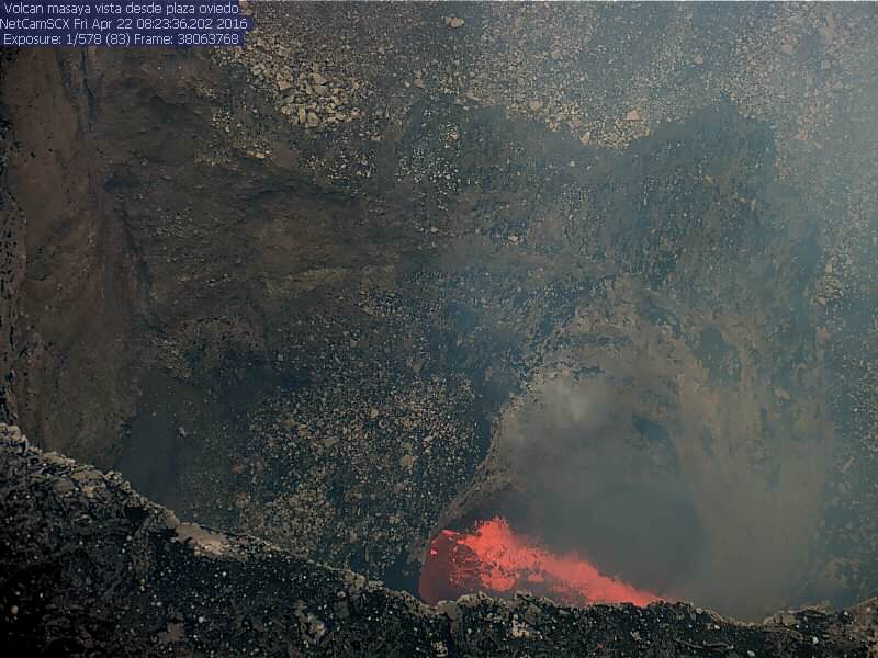 View of Masaya's lava lake this afternoon (INETER crater webcam)