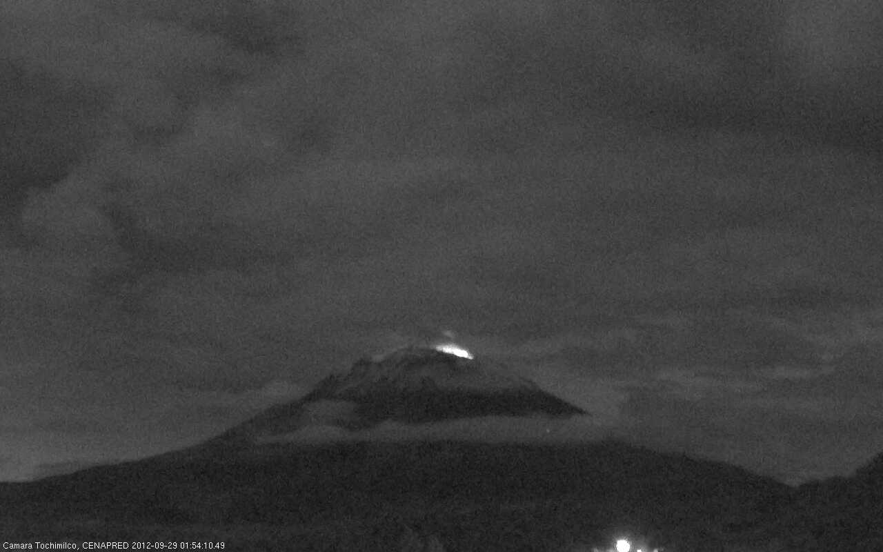 Popocatépetl with crater glow this morning