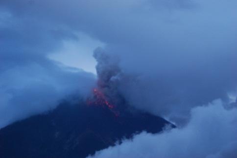 Eruption of Tungurahua volcano on 23 Feb, 2012 at around 18h00 local time (photo courtesy: G. Viracucha - IGEPN)