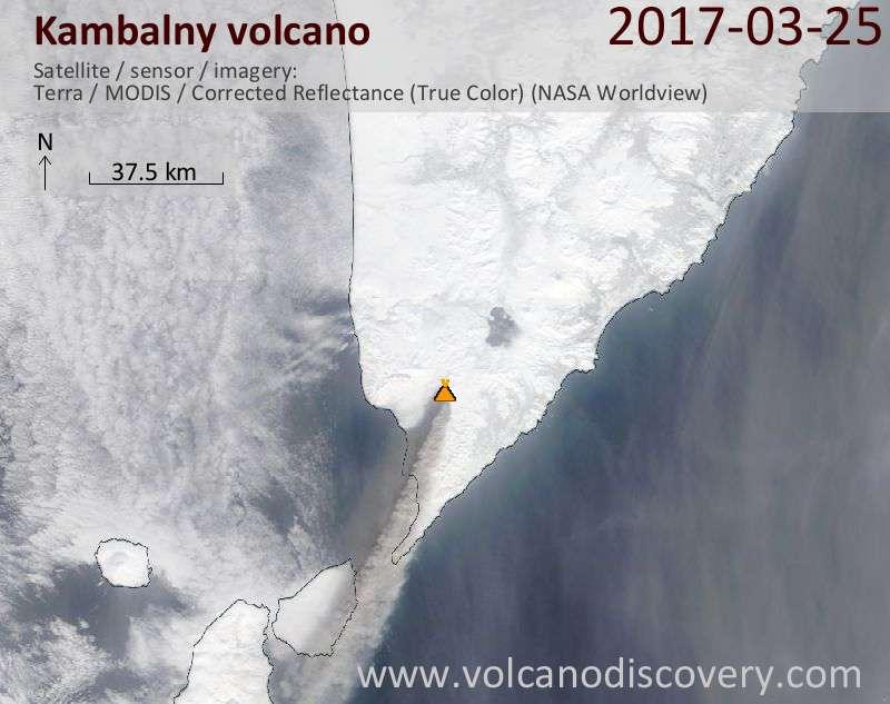 Satellite image of Kambalny volcano on 25 Mar 2017