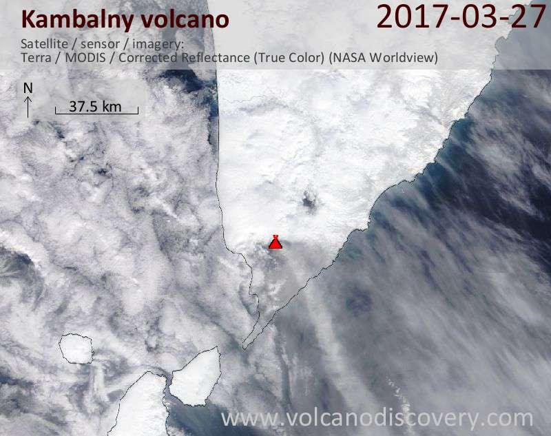 Satellite image of Kambalny volcano on 27 Mar 2017
