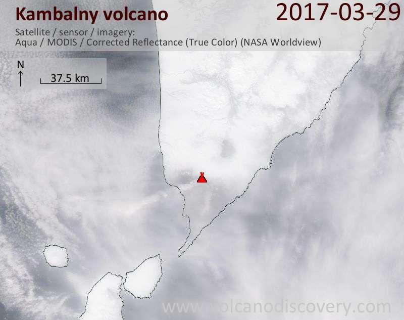 Satellite image of Kambalny volcano on 29 Mar 2017