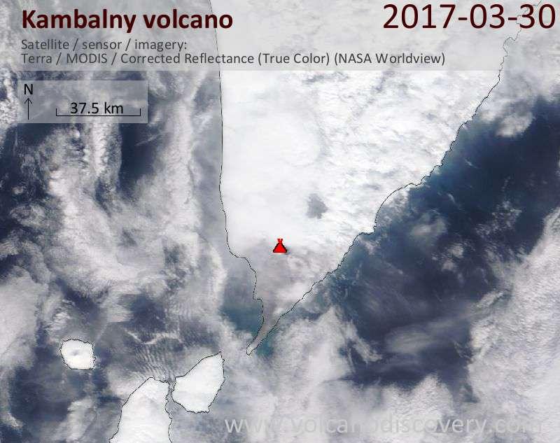 Satellite image of Kambalny volcano on 30 Mar 2017