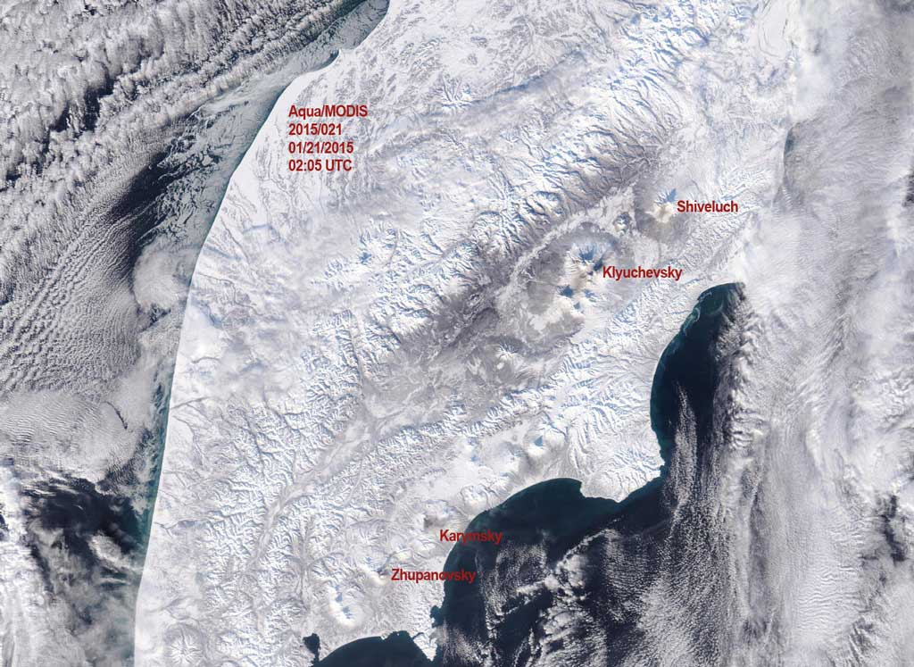 Modis / Aqua satellite view over Kamchatka this morning