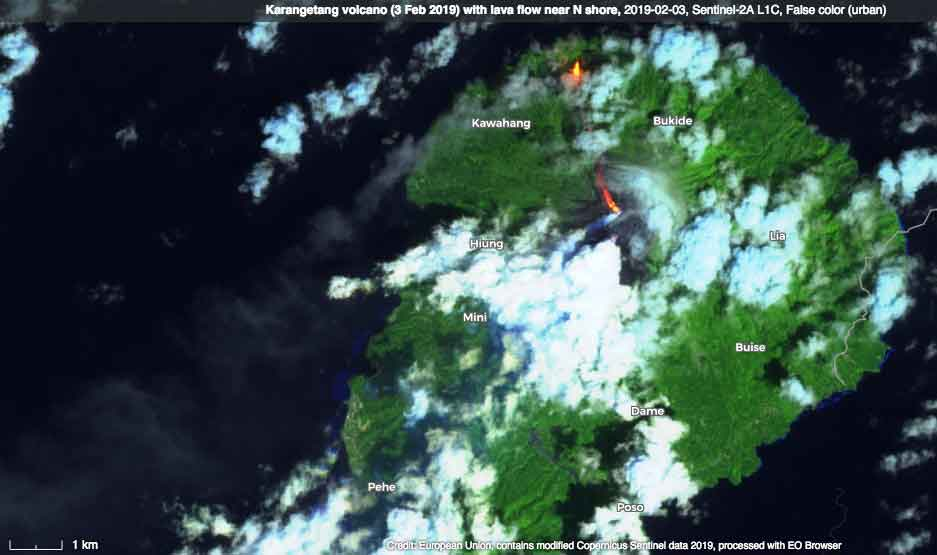 Karangetang's lava flow seen on 3 Feb 2019 by satellite (image: SENTINEL 2 - ESA/Copernicus)