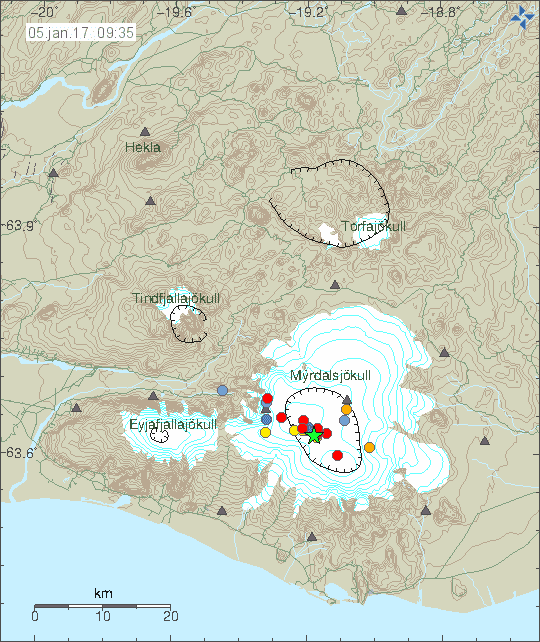 Recent quakes under Katla volcano in Iceland (image: IMO)