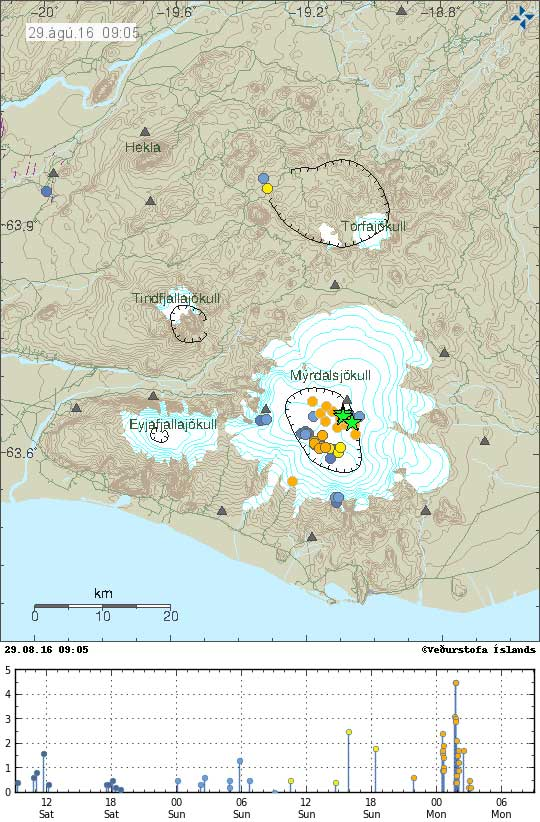 Earthquakes under Katla volcano during the past 48 hours (image: IMO)