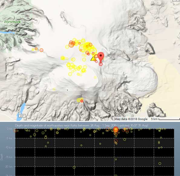 Earthquakes under Katla during the past 7 days