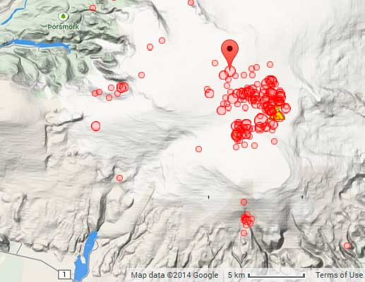 Epicenters of earthquakes at Katla during the past 7 days