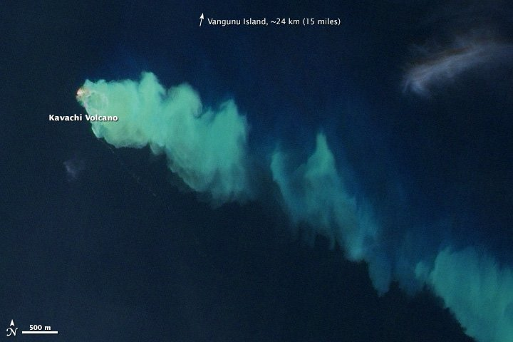 The discolored water plume from Kavachi volcano (NASA Earth Observatory image by Jesse Allen and Robert Simmon, using EO-1 ALI data from the NASA EO-1 team. Caption by Robert Simmon)