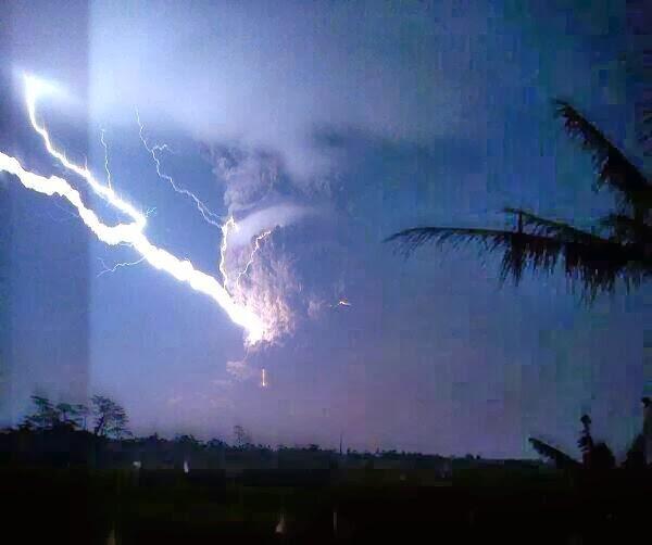 The eruption column of Kelut with lightning (photo: @RagaRikardhanu/ Twitter)