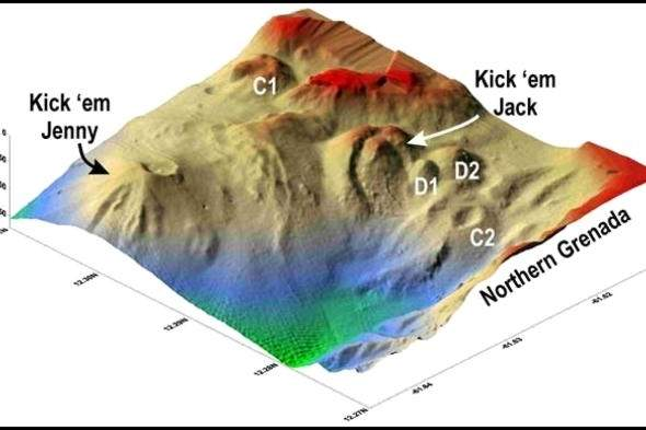 Underwater topography of Kick 'em Jenny volcano (Smithsonian)