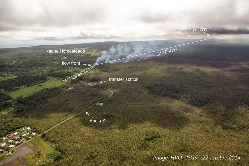 The lava flow advancing towards Pahoa on 22 Oct (image: USGS / annotations Culture Volcan)