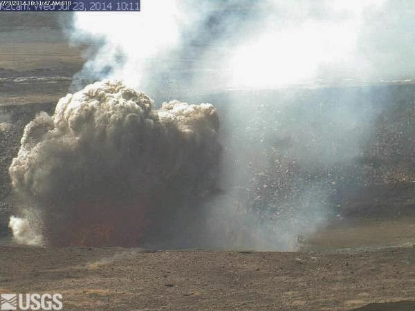 Explosive eruption at  Halema'uma'u lava lake on 23 July